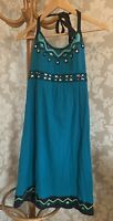 Monsoon Dress. Sun Dress. Halterneck. Size 10. Embroidery And Mirror Detail.