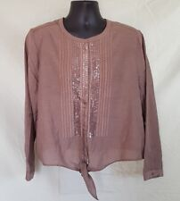 Womens 3X Tie Front Blouse Casual Sequin Placket Brown Light Cotton CHICO 3