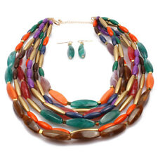 Multi-Layer Chain Colorful Resin Bead Chunky Choker Statement Bib Necklace Set