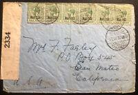 1942 Nassau Bahamas Censored Cover To San Mateo CA USA War Tax Stamp
