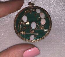 Vintage Fire Opal Pendant 14Kt Gold Australian Cameo Jade Malachite Necklace