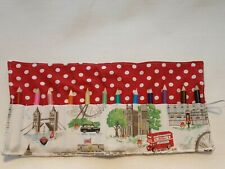 Handmade Cath Kidston LONDON views Fabric pencil/crayon roll + 12 pencils gift