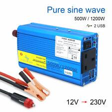 500w 1200w pure sine wave power converter inverter DC 12v to AC 230v car camping