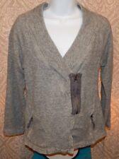 EDDIE BAUER Zip LS Gray Cotton Gathered V-Neck Cardigan Sweatshirt Women's Small