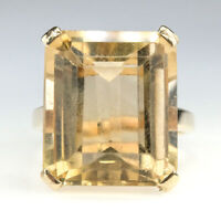 12.00ct Emerald Cut Citrine Gemstone Statement Ring in 14K Yellow Gold