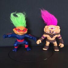 BATTLE TROLLS Vintage Pair HASBRO 1992 Action Figures 2 Toys NUNCHUK & CLOPS 90s