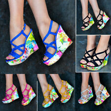 Floral Strappy, Ankle Straps Wedge Heels for Women