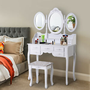 Dressing Table Set Vanity Makeup 7 Drawers StoolLarge Shabby  Bedroom