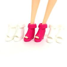 5 Pairs dolls plastic sandal dance shoe bowknot high-heel shoes christmas gif_cd