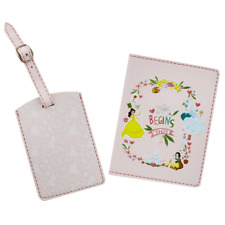 More details for disney princess pink luggage tag passport cover travel girl gift set official