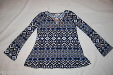 Womens L/S Knit Shirt BLACK BLUE AZTEC GEOMETRIC Hippy FLARED HEM Boho M 8-10