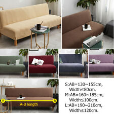 Sofa Bed Cover Couch Protect Seat Slipcover Solid Color Stretch Without Armrest