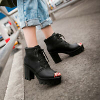 WOmen's high Block heels Platform leather Open toe lace Up High Top Ankle Boots