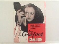 Joan Crawford in Paid MGM 1930 Herald MGM  A True Star!