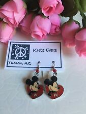 Silvertone Mickey Mouse inside a Red Heart LOVE Character Dangle Earrings