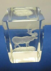 """Glass paperweight with glass reindeer inside 3 1/4""""     TER"""