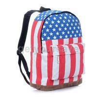 Punk Canvas UK US Flag Backpack Shoulder Handbag Bag School Book Campus Unisex
