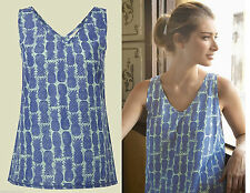 White Stuff Blue and Purple Printed Summer Sleeveless Pineapple Vest Top (Z1.6)