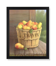 Country Pears Wood Basket Folk Wall Picture Black Framed Art Print