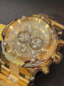 HUGE Invicta Shaq 60/66mm Bolt Swiss Mvmt Yellow Gold Silver Cable Diamond Watch