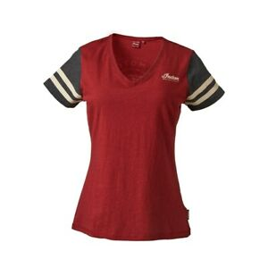 INDIAN OEM WOMEN T-SHIRT WITH CIRCLE ICON LOGO ON BACK, RED/BLK P/N 2868940