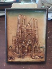 Antique Nu-Stonz Plaster Relief Rheims Cathedral Wall Hanging