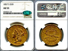 1857-S $20 Gold Coin NGC AU53 CAC
