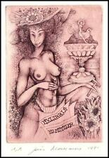 Joris Mommen C3 Exlibris 1991 Erotik Nude Woman Taube Pigeon Bird Vogel 1016