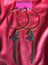 Betsey Johnson Vintage HUGE Gold hoop Blue Crystal Anchor Earrings VERY RARE NOS