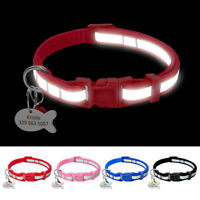 Personalised Nylon Reflective Small Dog Pet Puppy Cat Collars with Name ID Tag