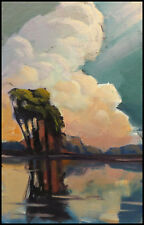 Vintage Wm HAWKINS  Impressionist  Art  Landscape Oil Painting Abstract Original