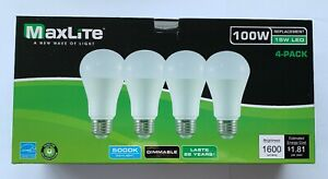 4 Maxlite Dimmable LED Daylight Light Bulb 15-Watt 100 Watt replacement 5000k