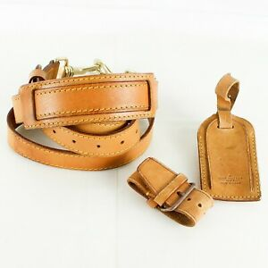 LOUIS VUITTON Leather Strap For Keepall Bandouliere & Name Tag & Tie Belt Set