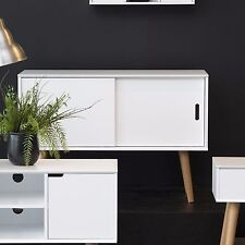 Vintage Sideboard Cabinet Cupboard Storage Furniture Retro White 2 Sliding Doors