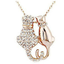 Mr and Mrs Cat Gold Plated Pendant Necklace For Women