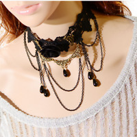 Women Gothic Victorian Steampunk Queen Party Black Lace Collar Choker Necklace*