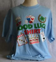 DELTA MY GOOD LUCK CASINO LOTTERY JACKPOT BINGO T-SHIRT BLUE