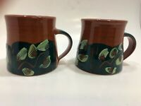 Drip Glaze Red Clay Pottery Hand Painted Etched Signed Terracotta Mugs Set of 2