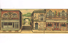 Cafe Store Paris French Street Scene Antique Shop Gallery Mural Wallpaper Border