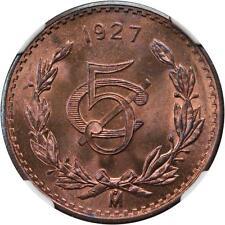 MEXICO ESTADOS UNIDOS 1927  5 CENTAVOS COIN CERTIFIED UNCIRCULATED NGC MS64-RB