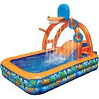 Water Park Slide Pool Inflatable Backyard Bounce House Yard Basketball Hoop Kids