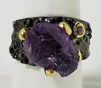 Ladies Handmade 10ct+ Natural Amethyst 925 Sterling Silver Ring Size 8