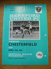 20/04/1974 Hereford United v Chesterfield  (Punched Holes, Team Changes)