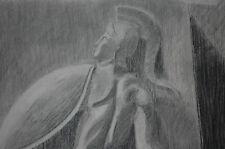 Bellissimo Disegno a Carboncino 1900 Statua Raffigurante Valoroso Achille 63x48