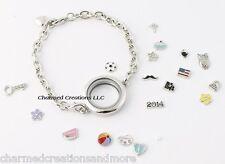 25mm Mini Plain Round Floating Charm Memory Locket Chain Link Bracelet