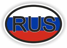 RUS RUSSIA COUNTRY CODE OVAL WITH FLAG STICKER bumper decal car helmet