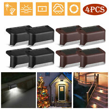 4 Solar Led Bright De ck Lights Outdoor Garde n Patio Railing Decks  Path Lighting