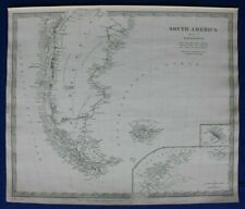 SOUTH AMERICA V, PATAGONIA, ARGENTINA, FALKLANDS, original antique map SDUK 1844