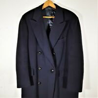 L Vintage Mens Paul Stuart Canada Overcoat Navy Wool Double Breasted Coat 41 R