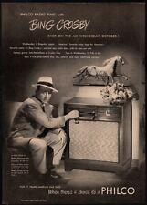 1947 PHILCO Phonograph Record Player - Singer BING CROSBY - Music VINTAGE AD